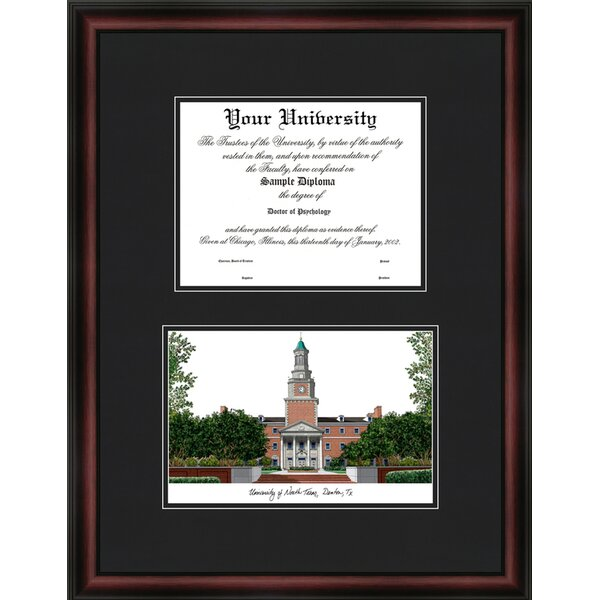 NCAA University of North Texas Diploma Picture Framed by Campus Images