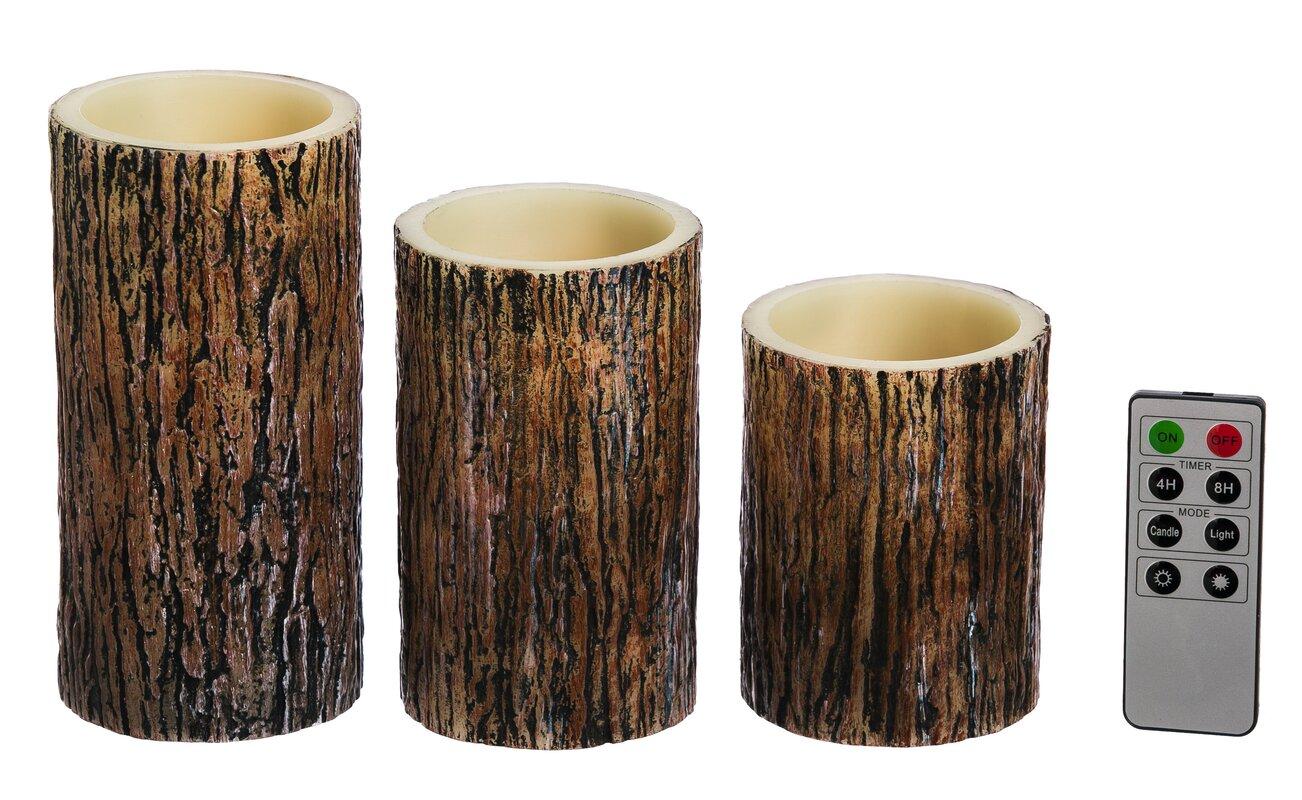 Tree Bark Battery Operated LED 3 Piece Flameless Pillar Candle Set