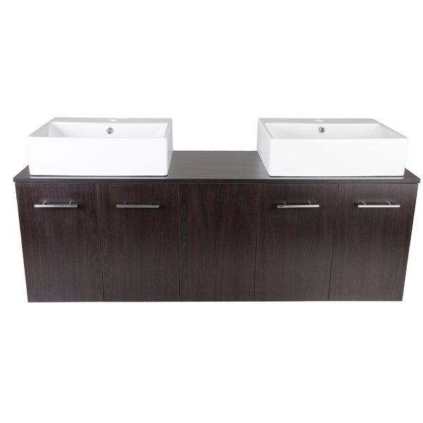 Carnes 59.3 Wall Mounted Double Bathroom Vanity Set by Wrought Studio
