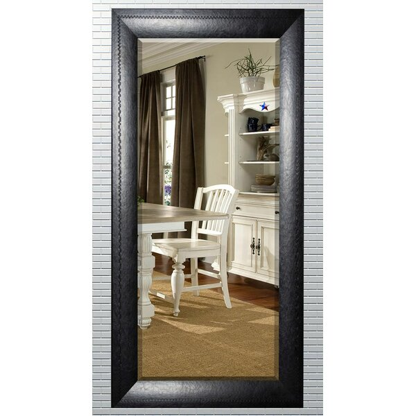South Lamar Stitched Leather Traditional Beveled Wall Mirror