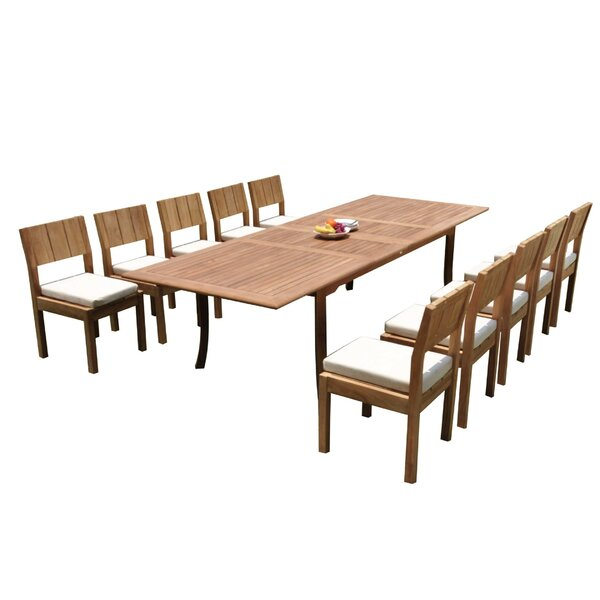 Dominik 11 Piece Teak Dining Set by Rosecliff Heights