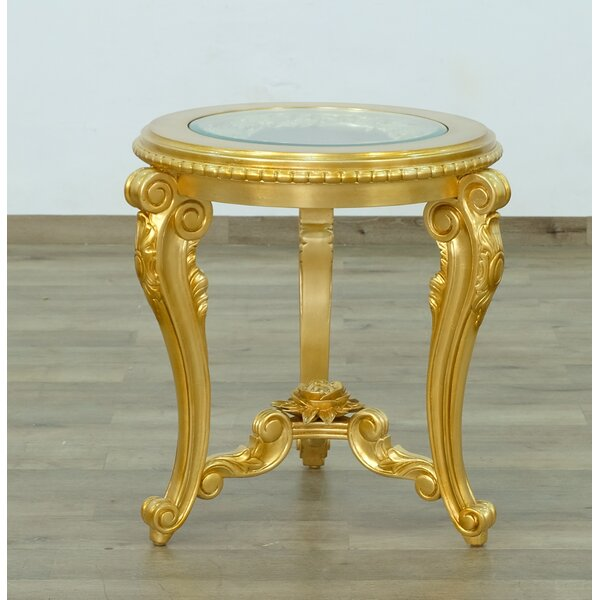 Toups Glass Top 3 Legs End Table