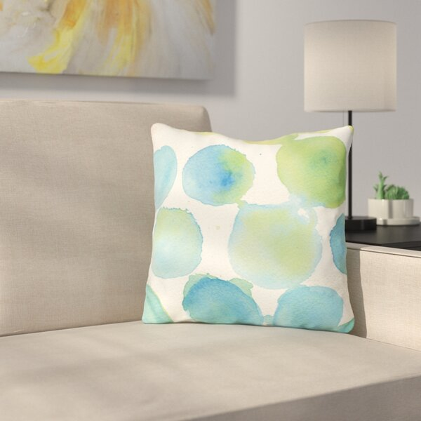 Petrin Watercolor Polka Dots Throw Pillow by Ebern Designs