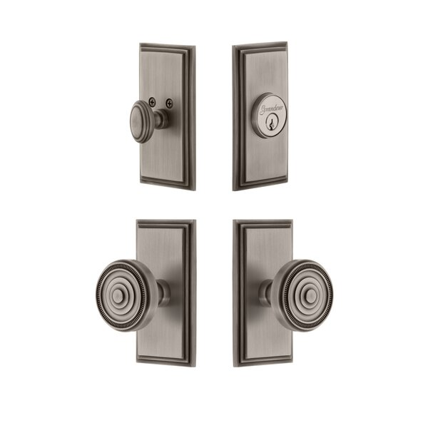 Carre Single Cylinder Knob Combo Pack with Soleil Knob by Grandeur