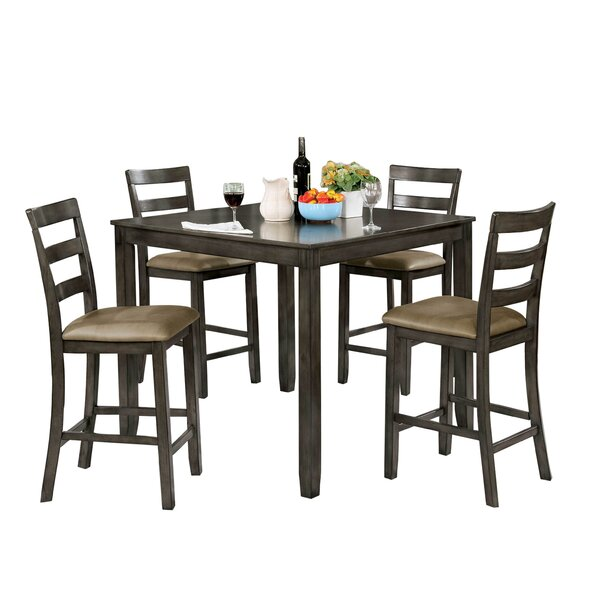 Jaiden Wooden 5 Piece Counter Height Dining Table Set by Millwood Pines Millwood Pines