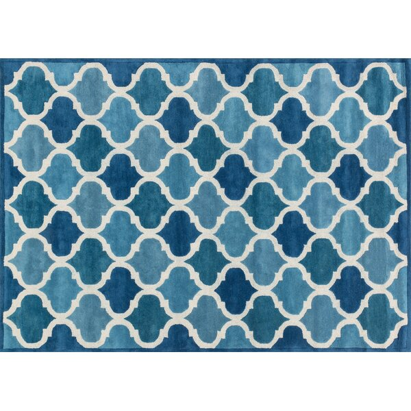Dandridge Hand-Tufted Cobalt Blue/Light Blue Area Rug by Wrought Studio