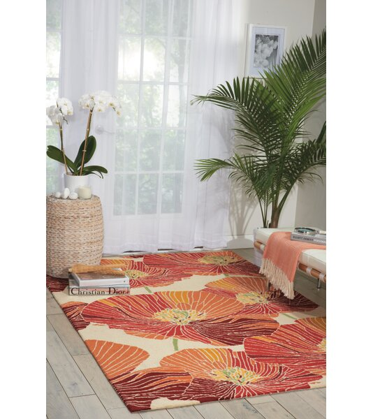 Aubuchon Hand-Hooked Sunset Area Rug by Ebern Designs