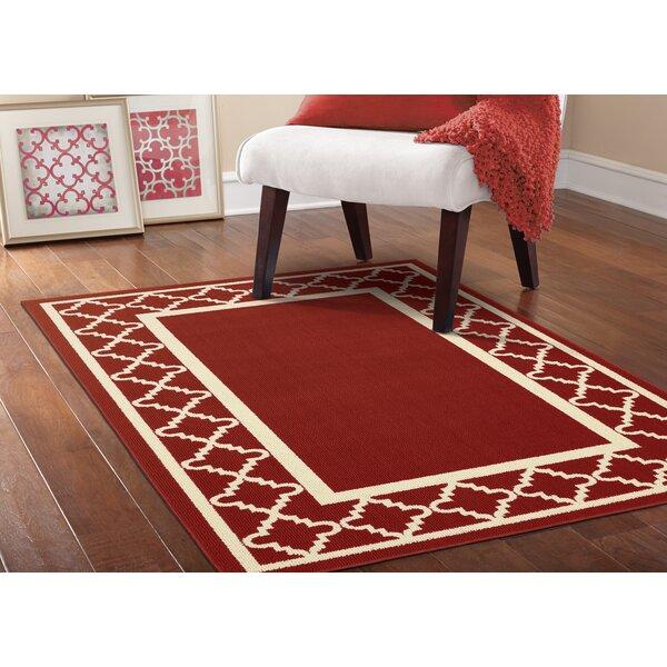 Moroccan Frame Crimson/Ivory Area Rug by Garland Rug