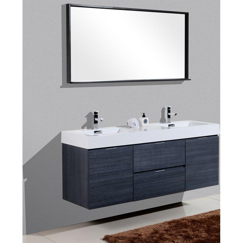 Tenafly 59 Wall Mounted Double Bathroom Vanity Set