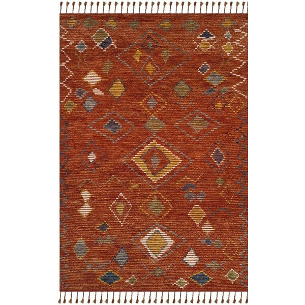 Glenoe Hand-Knotted Red Area Rug by Bloomsbury Market