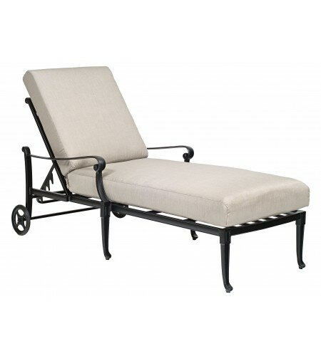 Wiltshire Reclining Chaise Lounge with Cushion by Woodard