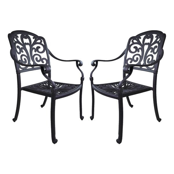 Thurston Patio Dining Chair with Cushion (Set of 2) by Fleur De Lis Living