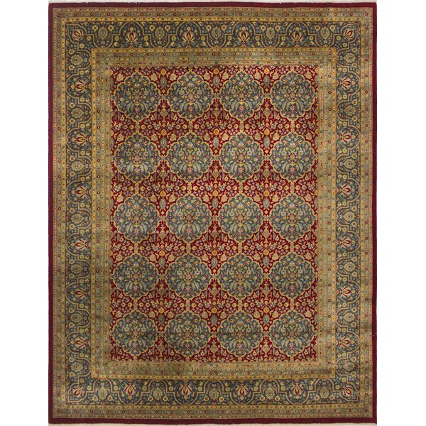 Sandia Turkish Hand Knotted Wool Red/Blue Area Rug by Astoria Grand