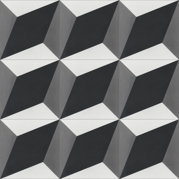 Large Cubes Excalibur 8 x 8 Cement Field Tile in Black/White by Villa Lagoon Tile
