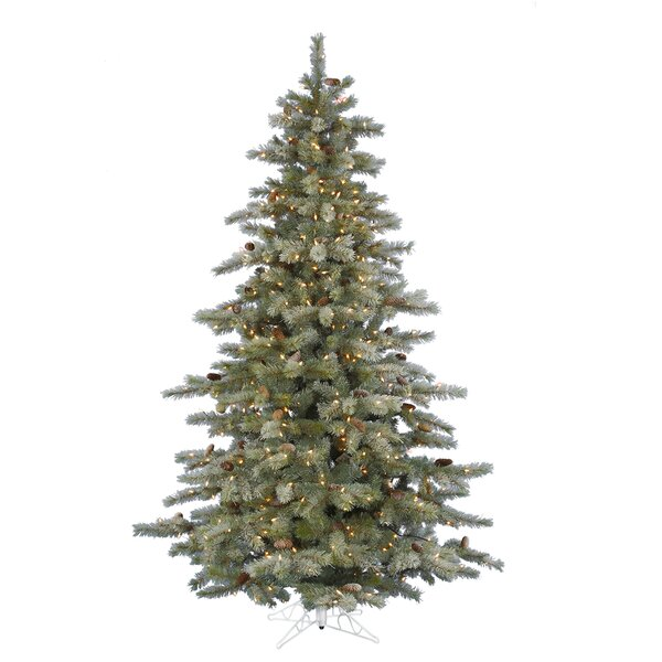 7.5 Frosted Pine Artificial Christmas Tree with 600 Clear/White Lights with Stand by The Holiday Aisle
