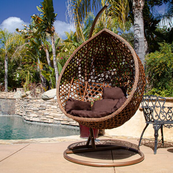 Giovanni Patio Outdoor Wicker Plastic Swing Chair with Stand by Bungalow Rose Bungalow Rose