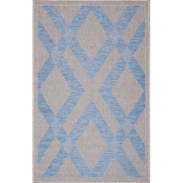 Stenberg Light Gray/Blue Indoor/Outdoor Area Rug by Wrought Studio
