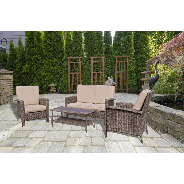 Wendler 4 Piece Sofa Seating Group with Cushions by Highland Dunes