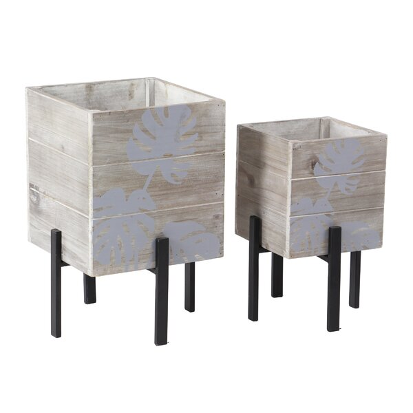 Goodlett Rustic 2-Piece Wood Planter Box Set by Bungalow Rose