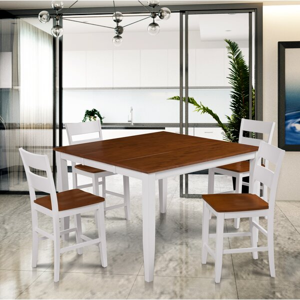 Hassen 5 Piece Counter Height Extendable Solid Wood Dining Set by Alcott Hill
