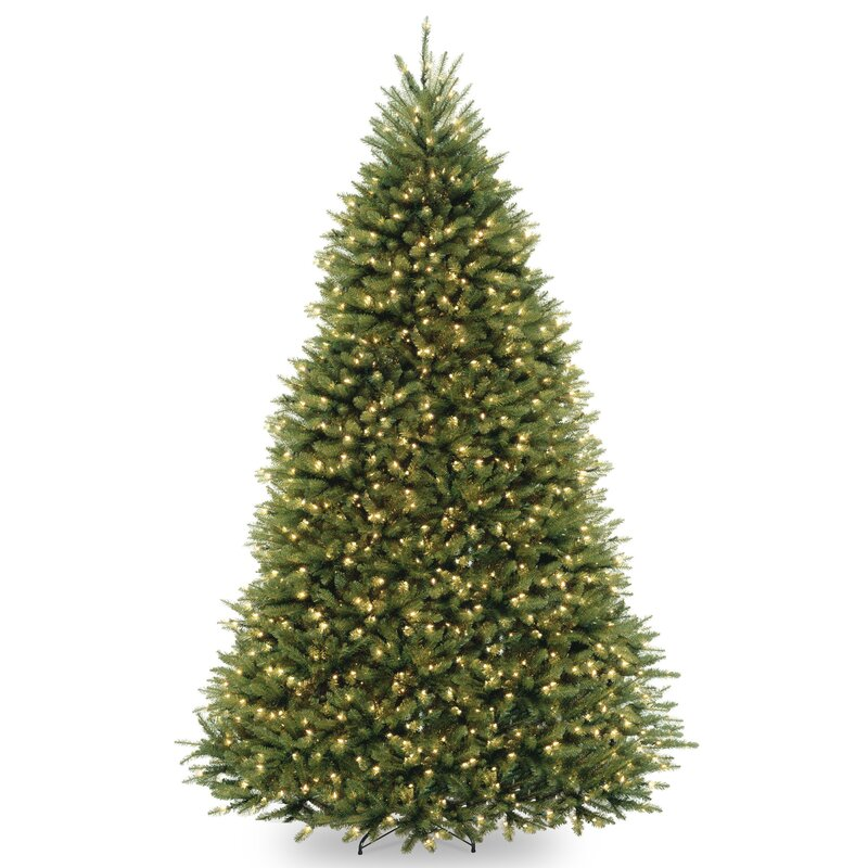 Fir 9u0027 Hinged Green Artificial Christmas Tree With 900 LED Multicolored  Lights