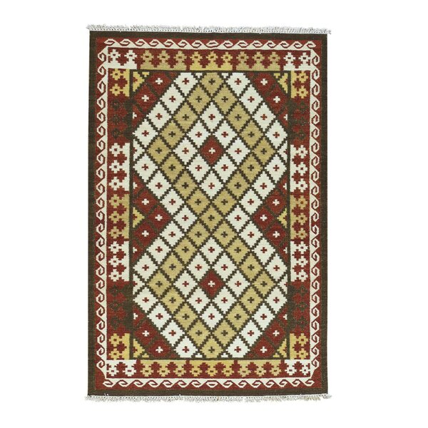 Anatolian Kilim Flat Weave Hand-Knotted Red/Ivory Area Rug by Bloomsbury Market