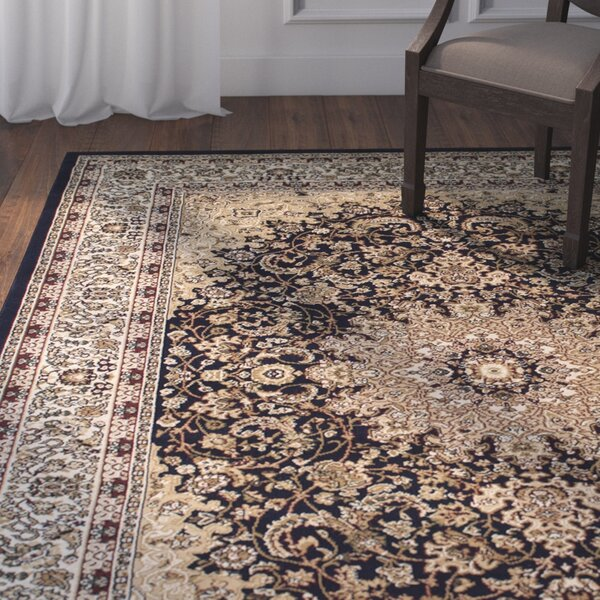 Arison High-End Ultra-Dense Thick Woven Navy Area Rug by Astoria Grand