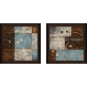 'Double Vision II' 2 Piece Framed Acrylic Painting Print Set Under Glass by Andover Mills