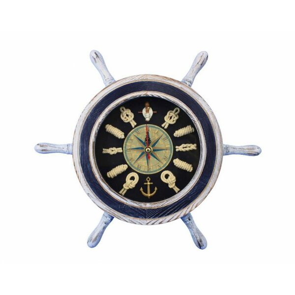 12 Ship Wheel with Knot Face Clock by Handcrafted Nautical Decor