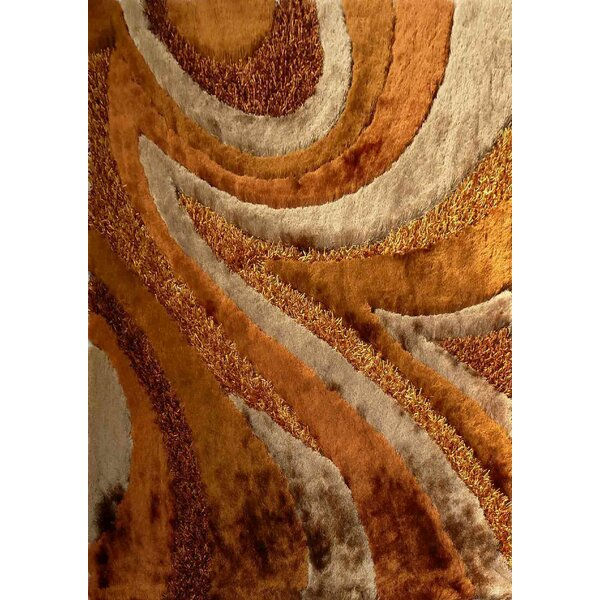 Shaggy Viscose Design Brown Area Rug by Rug Factory Plus