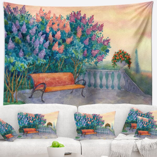 Landscape Bench under Flowering Lilac Tapestry and Wall Hanging by East Urban Home