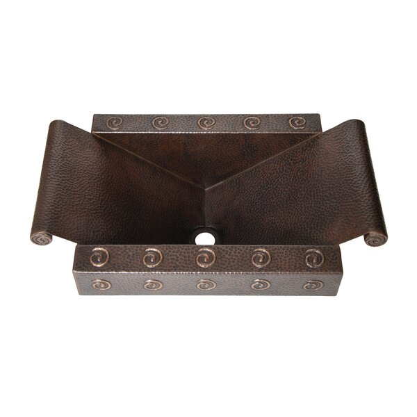 Hand Hammered Weirfield Apron Inclined Bottom Metal Rectangular Drop-in Bathroom Sink