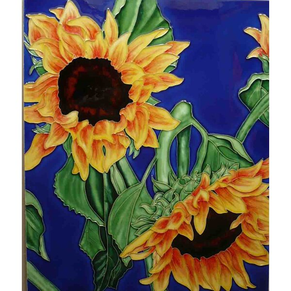 2 Sunflower in Blue Tile Wall Decor by Continental Art Center