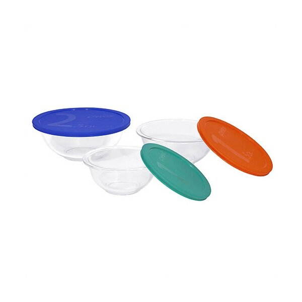 Smart Essentials 6 Piece Mixing Bowl with Colored Lid Set by Pyrex