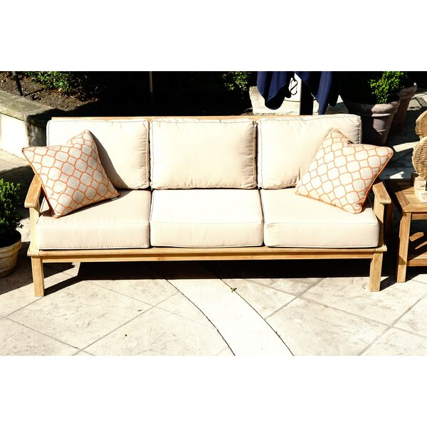 Galvan Outdoor Teak Patio Sofa with Cushion by Rosecliff Heights Rosecliff Heights