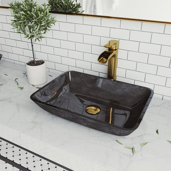 Handmade Onyx Glass Rectangular Vessel Bathroom Sink with Faucet (Set of 3)