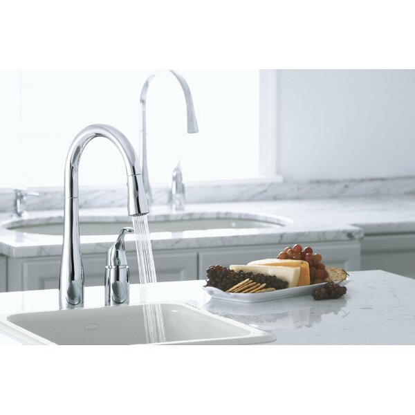 Simplice Two-Hole Kitchen Sink Faucet with 16-1/8 Pull-Down Swing Spout, Docknetik Magnetic Docking System, ProMotion™, MasterClean™ by Kohler