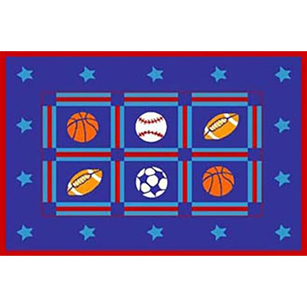 Strain Kids Ball Sports Blue Area Rug