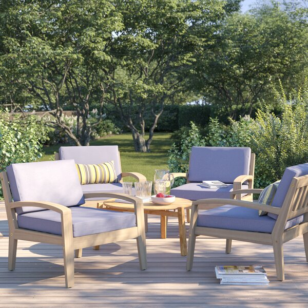 Berkley Wood Frame Patio Chair with Cushions (Set of 4) by Sol 72 Outdoor