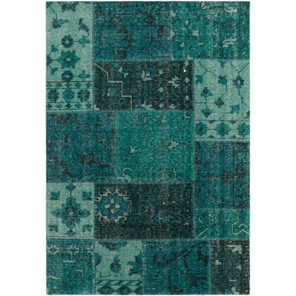 Casselman Patterned Knotted Contemporary Teal Area Rug by Bloomsbury Market