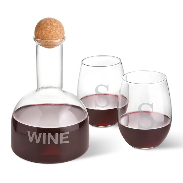 Welling Personalized Wine 3 Piece Beverage Serving Set by Latitude Run
