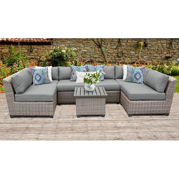 Meeks 7 Piece Sectional Seating Group with Cushions by Rosecliff Heights