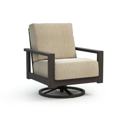 South Lamar Swivel Patio Chair with Sunbrella Cushion Gracie Oaks Frame Color: Hickory, Fabric Color: Cast Ash