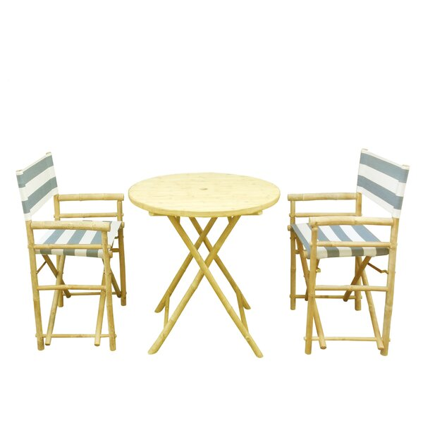 Bamboo 3 Piece Outdoor Dinning Set by ZEW Inc