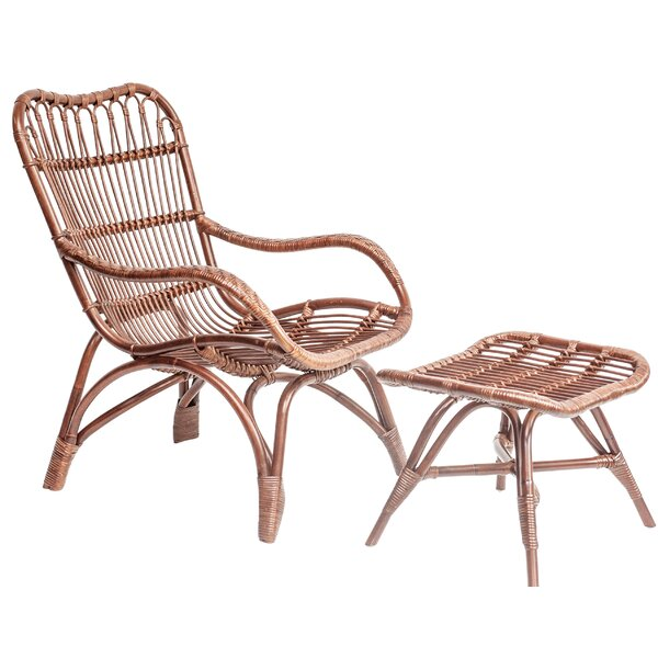 Knaack Rattan Armchair and Ottoman by Bungalow Rose