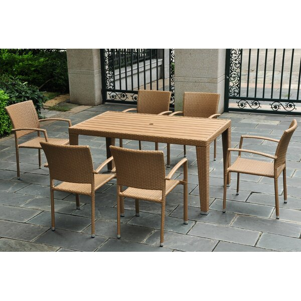 Katzer 7 Piece Wicker Resin Patio Dining Set by Brayden Studio
