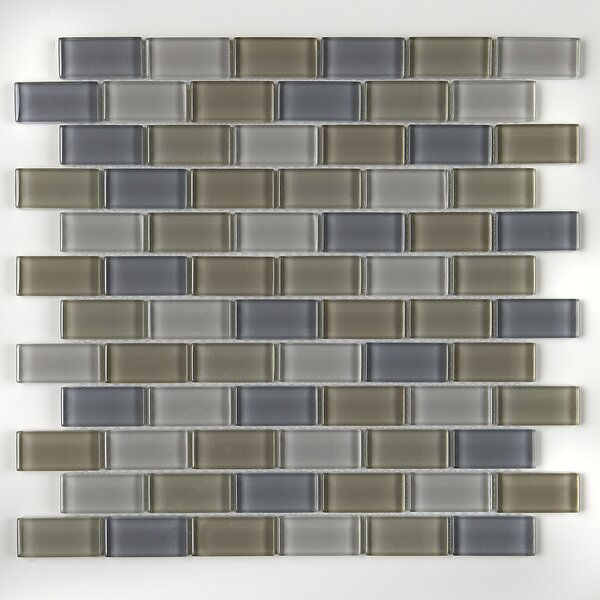 Geneva Brick-Joint 12 x 13 Glass Mosaic Tile in Classic Willow Water by Itona Tile