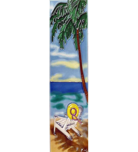 Palm with Beach Chair Tile Wall Decor by Continental Art Center