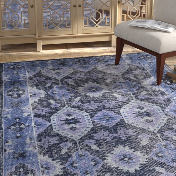 Drachten Hand-Knotted Navy/Dark Blue Area Rug by Bungalow Rose