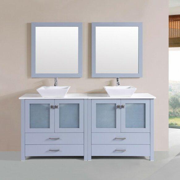 Lapp Modern 71 Double Bathroom Vanity Set with Mirror by Latitude Run